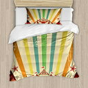 Ambesonne Vintage Rainbow Duvet Cover Set, Old Circ
