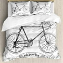 Ambesonne Bicycle Duvet Cover Set Queen Size, Ride Your Bi