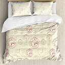 Ambesonne Clock Duvet Cover Set, Vintage Watches with Roma