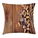 Ambesonne Winery Throw Pillow Cushion Cover, Wine Corks Ru