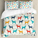 Ambesonne Dog Duvet Cover Set, Contemporary Colorful Illust