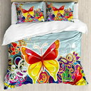 Ambesonne Colorful Duvet Cover Set, Butterflies and Floral