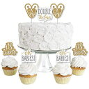 It's Twins - Dessert Cupcake Toppers - Gold Twin