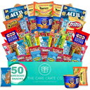 The Care Crate Co. Microwave Snack Care Package - 50 Piece Bulk Variety Pack Box for Adults and Kids with Ramen, Popcorn, Mac n Cheese, Pop-tarts, Assorted Chips, Granola Bars and Candy
