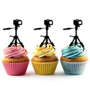 Camera Tripod Silhouette Acrylic Cupcake Toppers 12