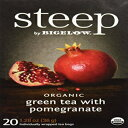 Steep by Bigelow Organic Green Tea with Pomegranate 20 Count Caffeinated Individual Green Tea Bags, for Hot Tea or Iced Tea, Drink Plain or Sweetened with Honey or Sugar