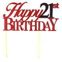 ショッピングバースデーケーキ All About Details Happy 21st Birthday Cake Topper, 1pc, glitter topper, party decoration, photo props (Red & Black)