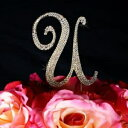 Unik Occasions Sparkling Collection Crystal Rhinestone Monogram Cake Topper - Letter U, Small, Gold