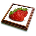 3dRose trv_101260_1 Two Strawberries Trivet with Ce