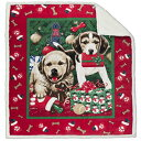 Amazing Sherpa Throw, Holiday Microplush Throw Blanket Theme with White Sherpa Reverse (Multiple Designs) 50 x 60 (Puppies Christmas Morning)