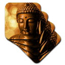 3D Rose Golden Asia Buddha Symbol Soft Coasters,