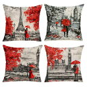 EZVING Decorative Red Throw Pillow Covers 18x18 Inches Black & Red Color Eiffel Tower & Big Ben Lovers Pillow Case Cushion Cover Burlap for Sofa, Living Room, Bedroom, Indoor or Outdoor Pillowcase, Set of 4