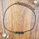 Emerald beaded chain crystal anklet in bronze - 8