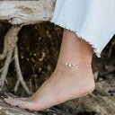 Howlite beaded chain crystal anklet in 14k gold f