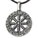 Mia Silver Studio Helm of Awe Pendant Necklace Sterling Silver Aegishjalmur in Runes Circle Ancient Norse Viking Protection Amulet Talisman Pagan Nordic Wiccan Gothic Jewelry for Men Women Handmade/Father's Day Gift