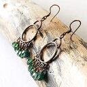 Copper Hoop Earrings, Chandelier with Green Crysta