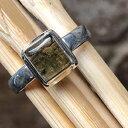 Natural Rocks by Kala Natural Green Moldavite 925 Solid Sterling Silver Engagement Ring Size 7.75
