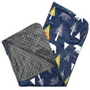 Dear Baby Gear Deluxe Baby Blankets, Custom Minky Print Double Layer, Bear Adventure on Blue, Grey Minky Dot, 38 Inches by 29 Inches
