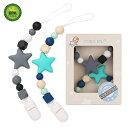 ショッピングシリコン Pacifier Clip TYRY.HU Teething Silicone Beads Teether Toys BPA Free Binkie Holder for for Boys, Girls, Baby Shower Gift (Turquoise, Grey)