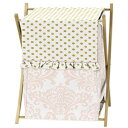 Sweet Jojo Designs Baby/Kids Clothes Laundry Hamper for Blush Pink White Damask and Gold Polka Dot Amelia Girls Bedding Set