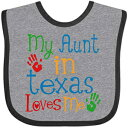 Inktastic - My Aunt in Texas Loves Me Baby Bib Heather and Black 339a3