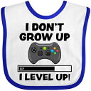 Inktastic - I Dont Grow Up I Level Up with Game Baby Bib White/Royal 3459e