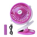 SkyGenius Battery Operated Clip on Fan for Baby Stroller Car Back Seat Travel Outdoors Camping, Small Personal Fan Mini Desk Table Fan Portable Powered by Rechargeable 2600mAh Battery or USB(Pink)