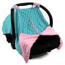 ショッピングシートカバー Strawberry Farms Baby Car Seat Cover Canopy and Nursing Cover 2 in 1 Blue Green and Pink Scalloped