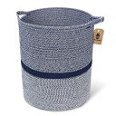 INDRESSME Large Cotton Rope Storage Basket Baby Laundry Basket Woven Baskets Blanket Basket with Handle for Diaper Toy Off White Home Decor 14.2'' x 13.4'' x 16.2'', Navy