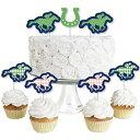 ショッピングホース Big Dot of Happiness Kentucky Horse Derby - Dessert Cupcake Toppers - Horse Race Party Clear Treat Picks - Set of 24