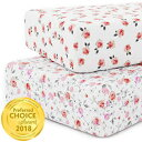 Kids N 039 Such Crib Sheet Set for Girls - Universal Fitted Crib Sheets for Standard Baby or Toddler Mattress - 2 Pack - White Nursery Bedding Sheets - Jersey Knit Cotton - Super Soft and Safe for Babies Petal