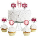Big Dot of Happiness Confirmation Pink Elegant Cross - Dessert Cupcake Toppers - Girl Religious Party Clear Treat Picks - Set of 24