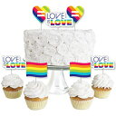 Big Dot of Happiness Love is Love - Gay Pride - Dessert Cupcake Toppers - LGBTQ Rainbow Party Clear Treat Picks - Set of 24