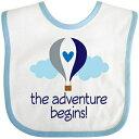 Inktastic - The Adventure Begins Hot Air Balloon Boys Baby Bib White/Blue 33bcb