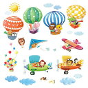 Decowall DAT-1406B1506B Animal Hot Air Balloons and Biplanes Kids Wall Decals Wall Stickers Peel and Stick Removable Wall Stickers for Kids Nursery Bedroom Living Room