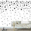 Melissalove 174pcs Mixed Size Star Wall Stickers Home Decor Bedroom Removable Nursery Wall Decals Kids DIY Art Decal 2 Colors Sticker JW343 (Black)