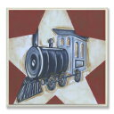 The Kids Room by Stupell Blue Train on White Star and Red Background Rectangle Wall Plaque