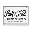 Stupell Industries Fluff and Fold Laundry Room Vintage Country Sign, Designed by Lettered and Lined Wall Art, 11 x 14, Grey Framed