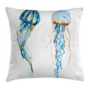 Ambesonne Jellyfish Throw Pillow Cushion Cover, Jellyfish Exotic Sea Ocean Creature Aquatic Animals Watercolor Raster Graphic, Decorative Square Accent Pillow Case, 24