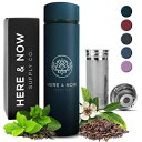 Multi-Purpose Travel Mug and Tumbler Tea Infuser Water Bottle Fruit Infused Flask Hot Cold Double Wall Stainless Steel Coffee Thermos EXTRA LONG INFUSER by Here Now Supply Co. (Teal)
