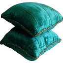 The HomeCentric Handmade Royal Peacock Green Throw Pillows Cover, Contemporary Solid Pillow Cover, 12x12 inch (30x30 cm) Pillows Cover, Velvet Square Pillow Cover, Solid Color - Royal Peacock Green Shimmer
