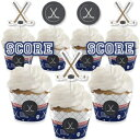 Big Dot of Happiness Shoots and Scores - Hockey - Cupcake Decoration - Baby Shower or Birthday Party Cupcake Wrappers and Treat Picks Kit - Set of 24