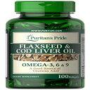 ショッピングLIVE Puritan's Pride Flaxseed & Cod Liver Oil 1000 mg Omega 3, 6 & 9-100 Softgels