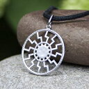 Mia Silver Studio Black Sun Necklace Sonnenrad Pendant 925 Sterling Silver/Pagan Sun Wheel/Sacred Occult Symbol/Kolovrat Warrior Talisman Nordic Viking Jewelry Gifts for Men Women/Handmade