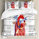 Ambesonne Educational Duvet Cover Set, Medical Structure of The Hearts Human Body Anatomy Organ Veins Cardiology, Decorative 3 Piece Bedding Set with 2 Pillow Shams, King Size, Coral Red