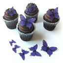 Deco Machine Butterflies Assorted Purple Monarch Wafer Paper Butterflies Butterfly 5 Different Sizes ranging from 7/8 Inch to 2 Inch for Decorating Desserts Wedding Cakes Birthday Cupcakes Cookies Pack of 12