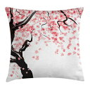 """Ambesonne Floral Throw Pillow Cushion Cover, Dogwood Tree Blossom in Watercolor Painting Effect Spring Season Theme Pinkish Tones, Decorative Square Accent Pillow Case, 16"""" X 16"""", Black Pink"""