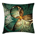 """Ambesonne Fractal Throw Pillow Cushion Cover, Computer Art Featured Surreal Flowers Dreamy Imaginary Creative Concept, Decorative Square Accent Pillow Case, 26"""" X 26"""", Jade Green"""