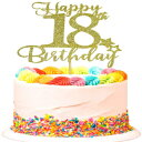 SWEETTALA Happy 18th Birthday Cake Topper for 18th Birthday Party Decorations Sign Gold Glitter
