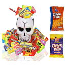 EVA'S GIFT UNIVERSE Halloween Gifts Skull White Bucket with Filled Assorted Candies 1.5 Lbs. - Great Candy Basket Treats for Kids, Girls, Boys, Child, Toddler and College Students